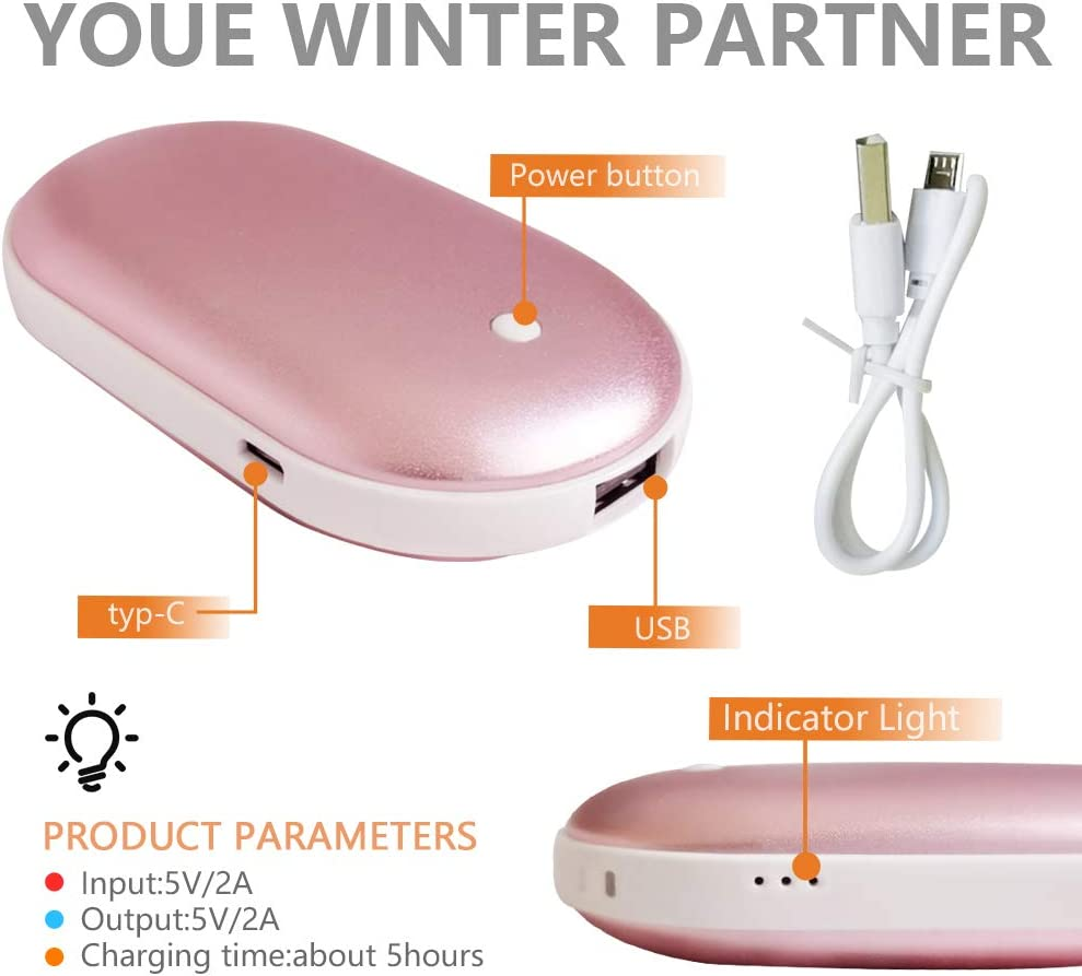 LEOBUYS Rechargeable Hand Warmers 5200mAh Portable Pocket Electric USB Hand Warmer Quick Heating Reusable Handwarmer,Winter Warm Gifts for Men and Women