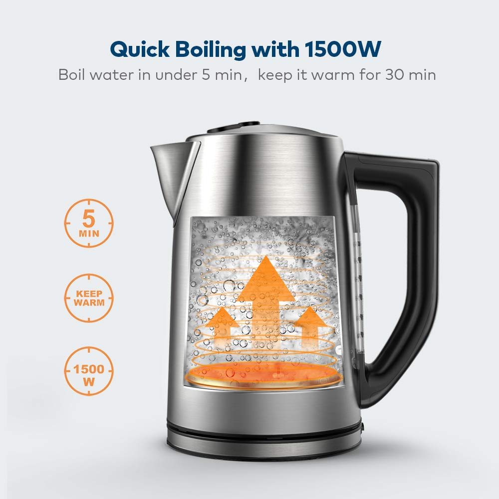 Miroco Electric Kettle Temperature Control Stainless Steel 1.7 L Tea Kettle, BPA-Free Hot Water Boiler Cordless with LED Indicator, Auto Shut-Off, Boil-Dry Protection, Keep Warm, 1500W Fast Boiling by Miroco (Image #4)