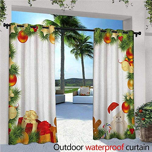 familytaste Kids Christmas Indoor/Outdoor Single Panel Print Window Curtain Garland Frame Design with Evergreen Fir Tree Bear Toy and Gingerbread Man Silver Grommet Top Drape W108 x L96 Multicolor
