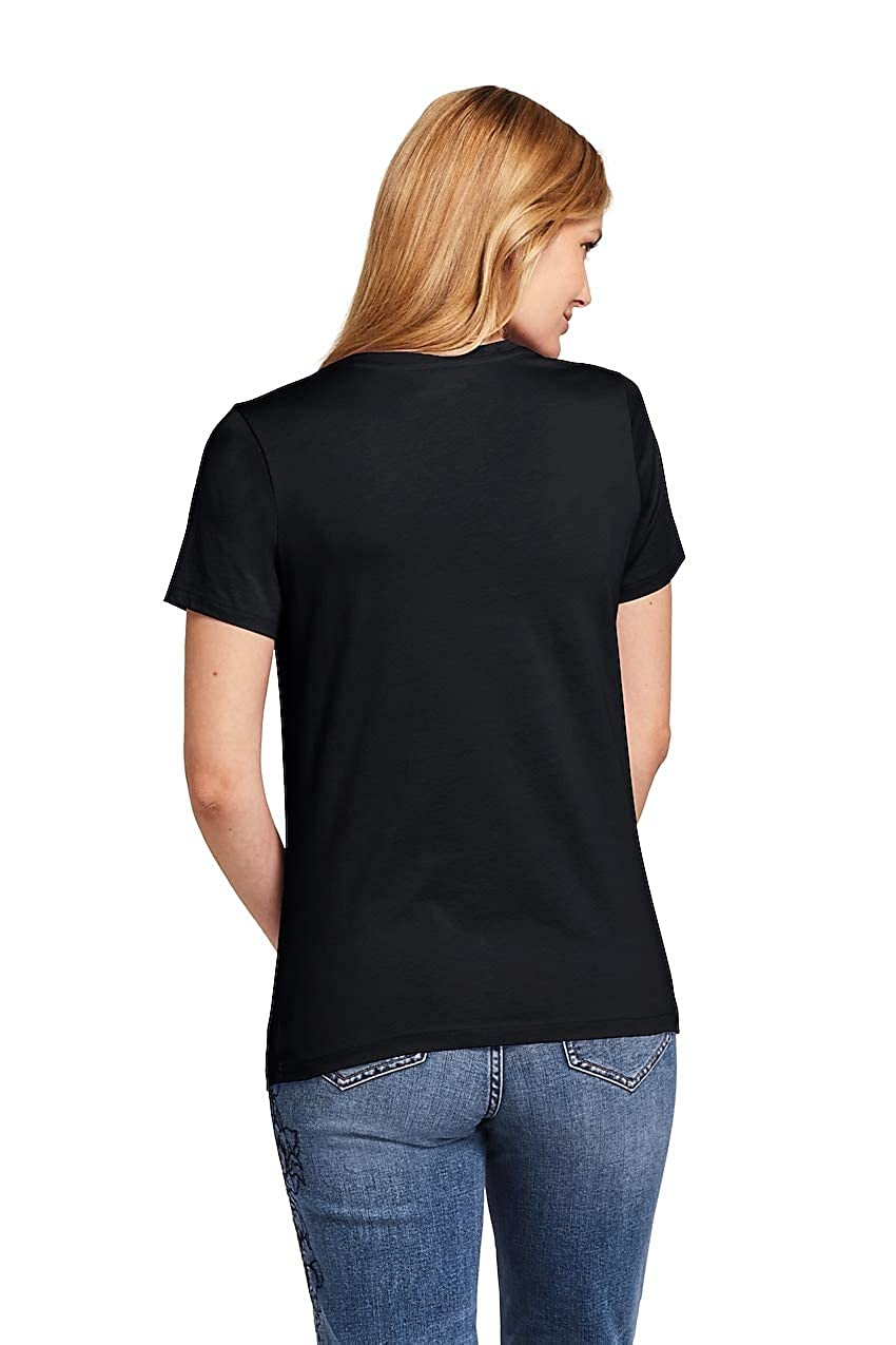 54d510555 Lands' End Women's Relaxed Short Sleeve T-Shirt Supima Cotton V-Neck at  Amazon Women's Clothing store: