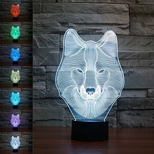 SUPERNIUDB Animal Wolf Decor 3D Night Light Table Desk Optical Illusion Lamps 7 Color Changing Lights by SUPERNIUDB