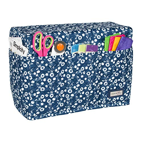 Everything Mary Blue Flower Quilted Sewing Machine Cover - Dust Cover Protector That Fits Most Standard Brother & Singer Machines - Collapsible with Storage Pocket (Bag Patterns Quilted)