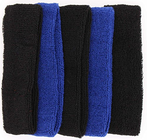 Stretchy Band - Sweat Headbands For Men – 5PK Sweatbands Cotton Headwrap For Basketball Running Sports Workout Exercise, Mens Sweatband Stretchy Terry Cloth Athletic Sweat Headband Headwear (Black+Blue, 5PCS)