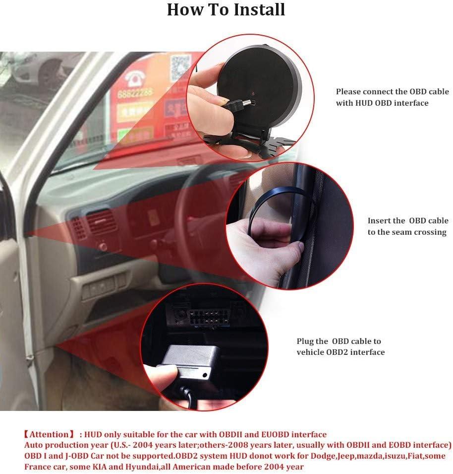 """Aihg voiture 2.84/"""" TFT HUD disaplay OBD2 MPH//KMH LCD Digital Compteur De Vitesse Tachymètre"""