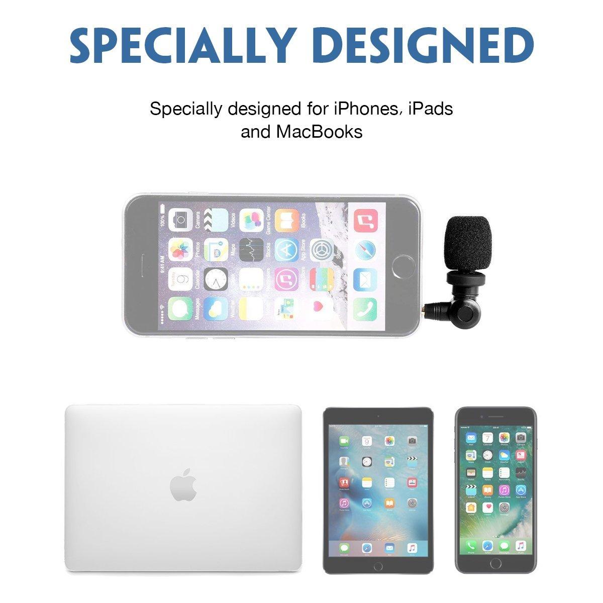iPhone 8 7 Plus 6 Plus iPod iPad Saramonic SmartMic Mini Flexible Condenser Microphone with High Sensitivity for Apple IOS Devices i.e
