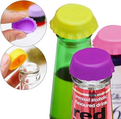 kwmobile Set de 9 chapas el/ásticas de silicona para botellas Juego de 9x chapas reutilizables para botellas de cerveza o vino