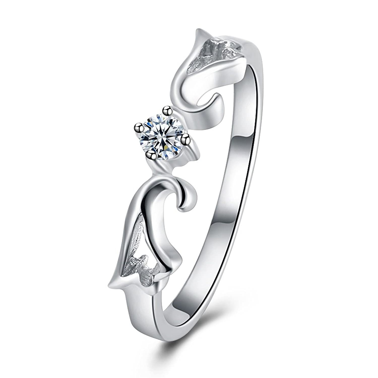 MoAndy Silver Plated Ring for Women Crystal Cubic Zirconia Flower White Wedding Band