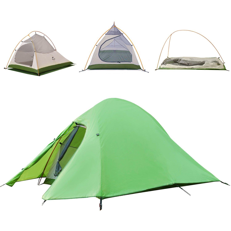 Topnaca 1 2 3 Person Double Layer Rucksackreisen Zelt frei, bieten einen Fußabdruck Aluminium Rod Anti-UV-Winddicht Wasserdicht Leicht für Camping Wandern Reise Jagd