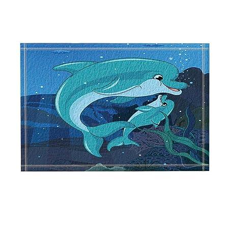 Rrfwq Kinder lieben Dekor Mutter und Sohn Delfine Schwimmen im Ozean ...