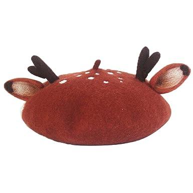 64473263e5f20 hearty lady Handmade Deer Antler Ear Beret Hat Vintage Painter Wool Cap Gift