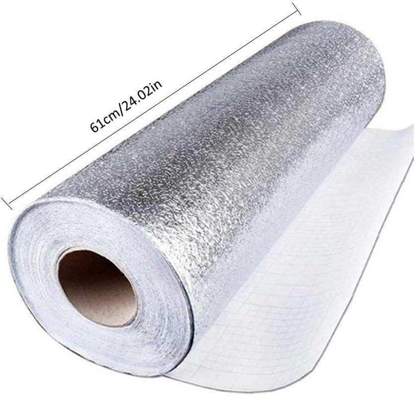 QUUY Aluminiumfolie Tapete K/üche Selbstklebende Aufkleber 61 X 500 cm Schubladen Usw. Utensilien wasserdichte /Öl Proof Aufkleber K/üchenherd Aufkleber Zum Schutz Von Schr/änken