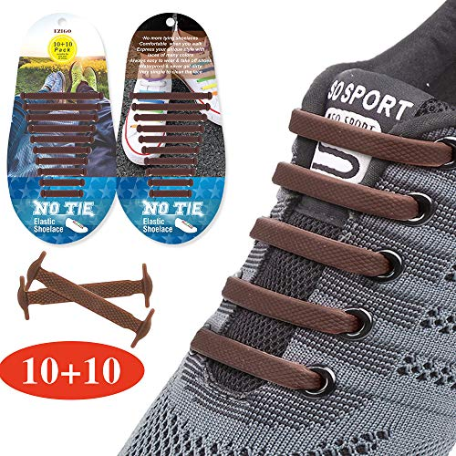 EZIGO 10+10 No Tie Shoelaces Upgraded Elastic Shoelaces for Adults/Kids Tieless Elastic Shoe Laces Waterproof Rubber Shoelaces for Sneakers Boots Board Shoes and Casual Shoes 20 Shoelaces Brown