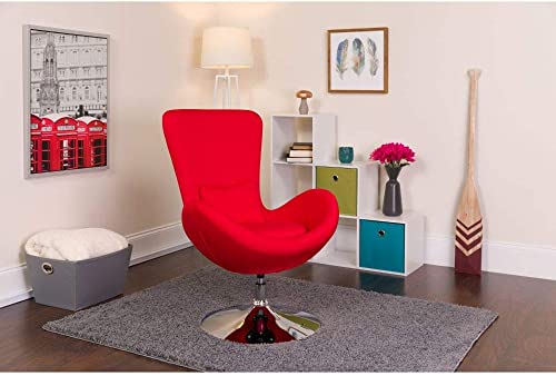 Flash Furniture Egg Series Red Fabric Side Reception Chair