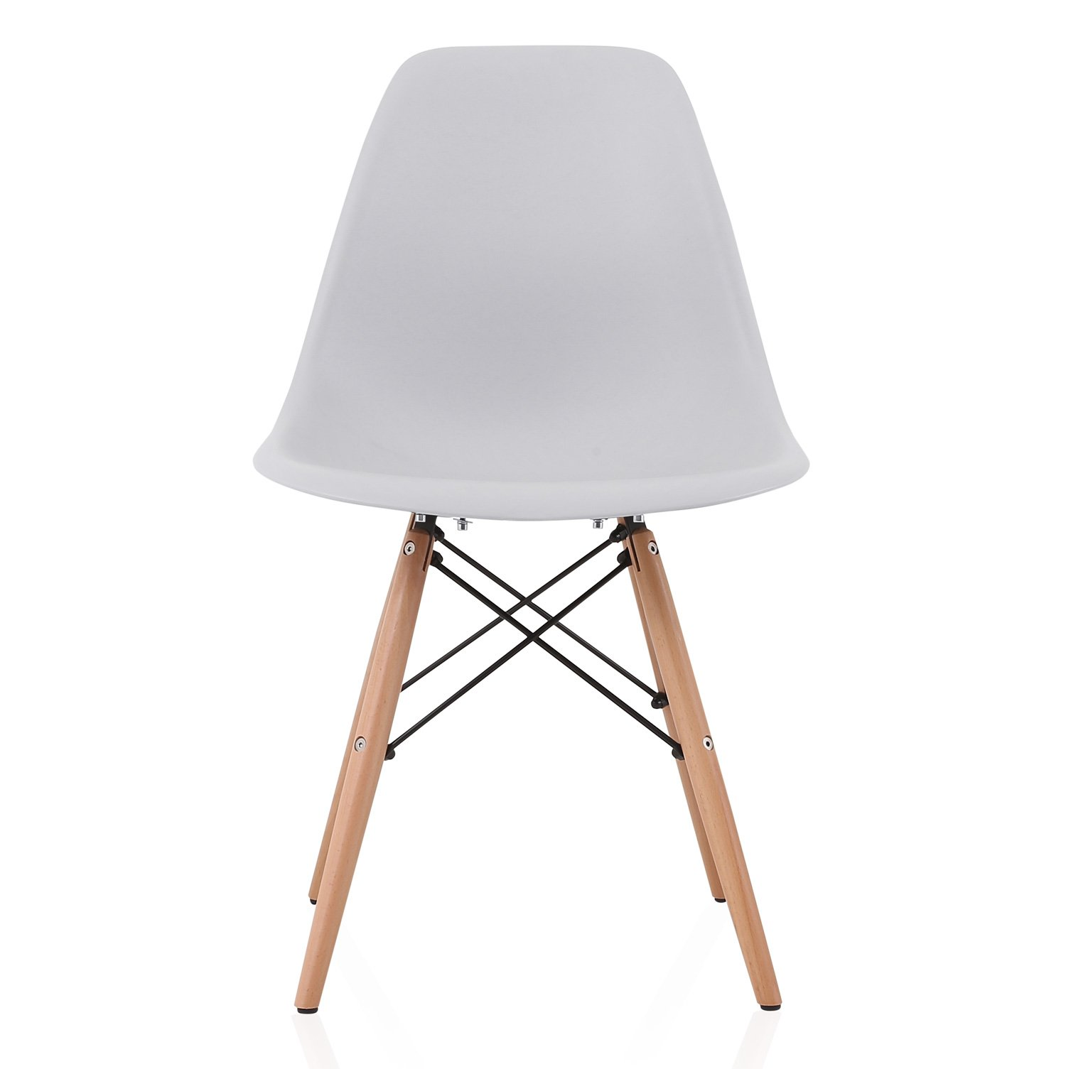 DSW Slope Light Gray Molded Plastic Dining Side Chair with Beech Wood Eiffel Legs