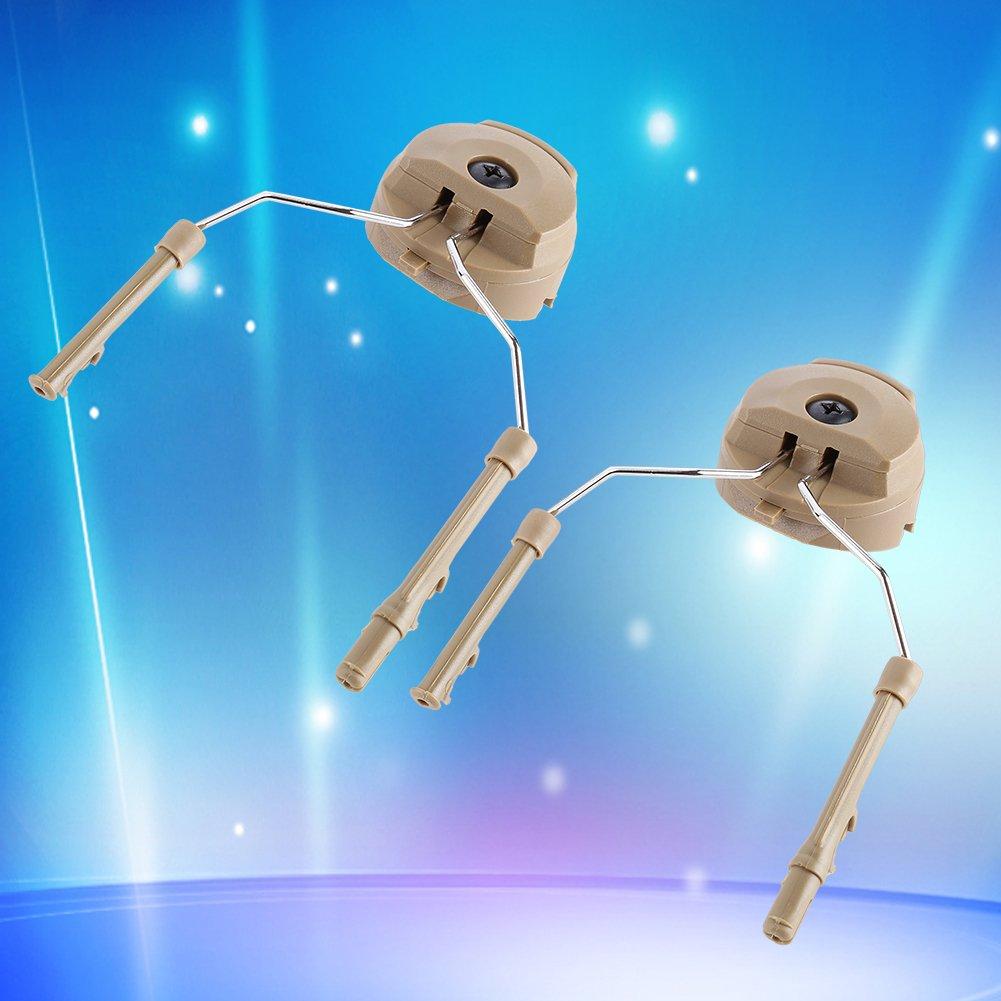 1Pair Headset Helmet Adapter ARC Rail Adaptor Suspension Headphones Bracket Hunting Earmuffs Support Left & Right Side Attachments For Peltor Comtac