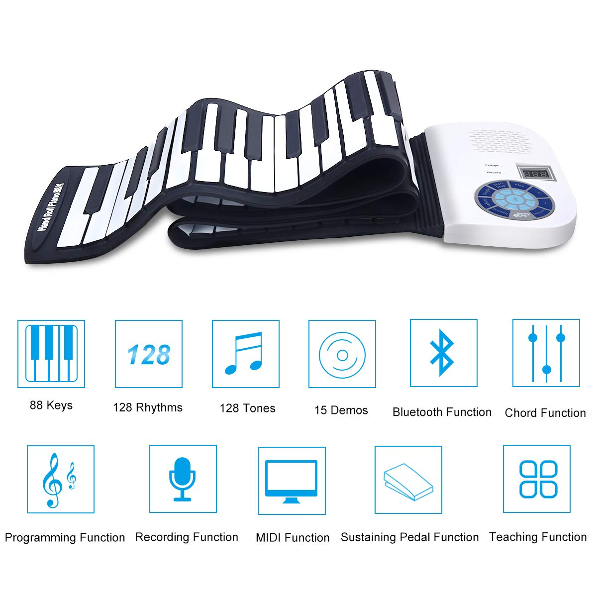 BABY JOY Roll Up Piano, Upgraded Electronic Piano Keyboard, Portable Piano w/Bluetooth, MP3 Headphone USB Input, MIDI OUT, 128 Rhythms, Record, Play, Volume Control (White, 88Keys) by BABY JOY (Image #4)