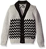 GUESS Boys' Little Boys' Long Sleeve Cardigan Sweater, Light Heather Grey, 6X/7