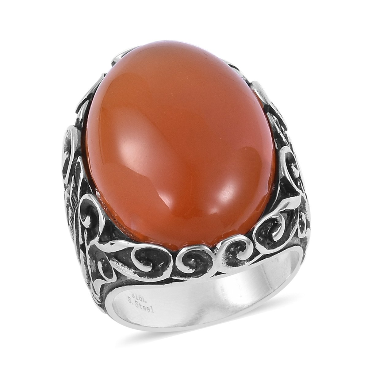 Stainless Steel Oval Dyed Orange Agate Fashion Ring for Women Size 7