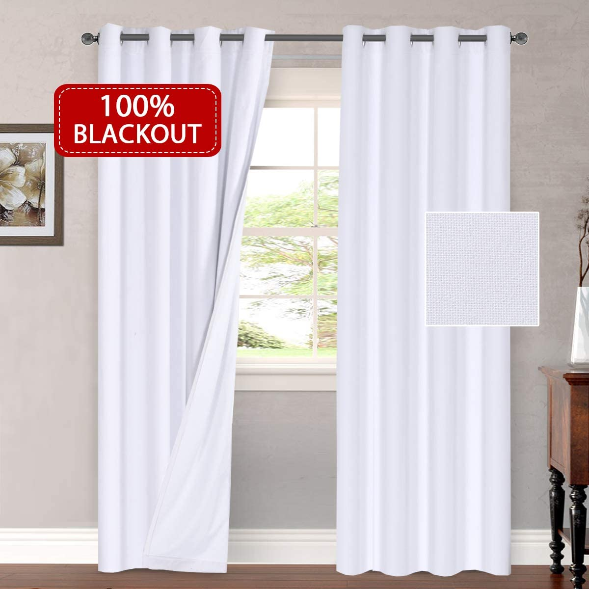 H.VERSAILTEX Curtains 100 Blackout Draperies Patio Waterproof Linen Look Blackout Curtains Bedroom Extra Long 108 Inches Grommets Window Curtain Panels White Color, 2 Panels