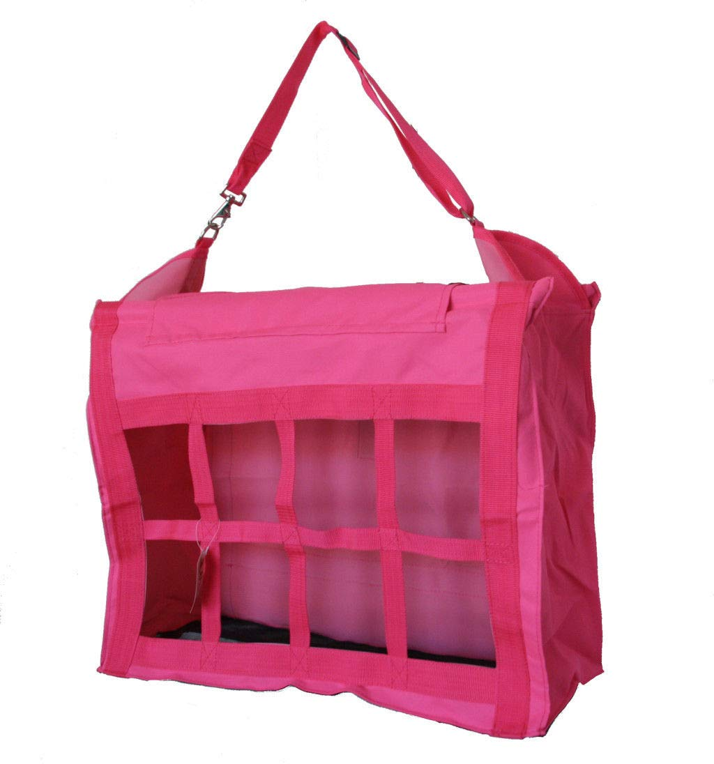AJ Tack Wholesale Large Horse Stable Hay Bag Tote Front Divider Top Load Heavy Duty Canvas Pink