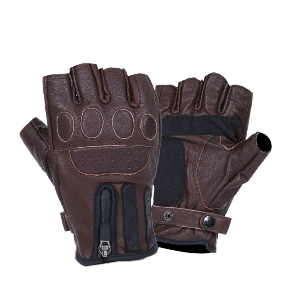 Snfgoij Herren Handschuhe Für Motorradschutz Sporthandschuhe Klettern Vintage Harley Lederhandschuhe Sommer Halbe Finger Handschuhe
