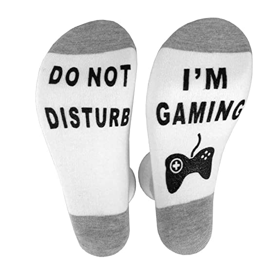 "Amazon.com: ""Do Not Disturb, Im Gaming"" Mens Womens Funny Novelty Cotton Crew Socks Tall Socks: Clothing"