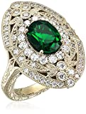 Women's Yellow Gold Plated Sterling Silver Swarovski Synthetic Emerald Oval Shape Antique Ring, Size 7