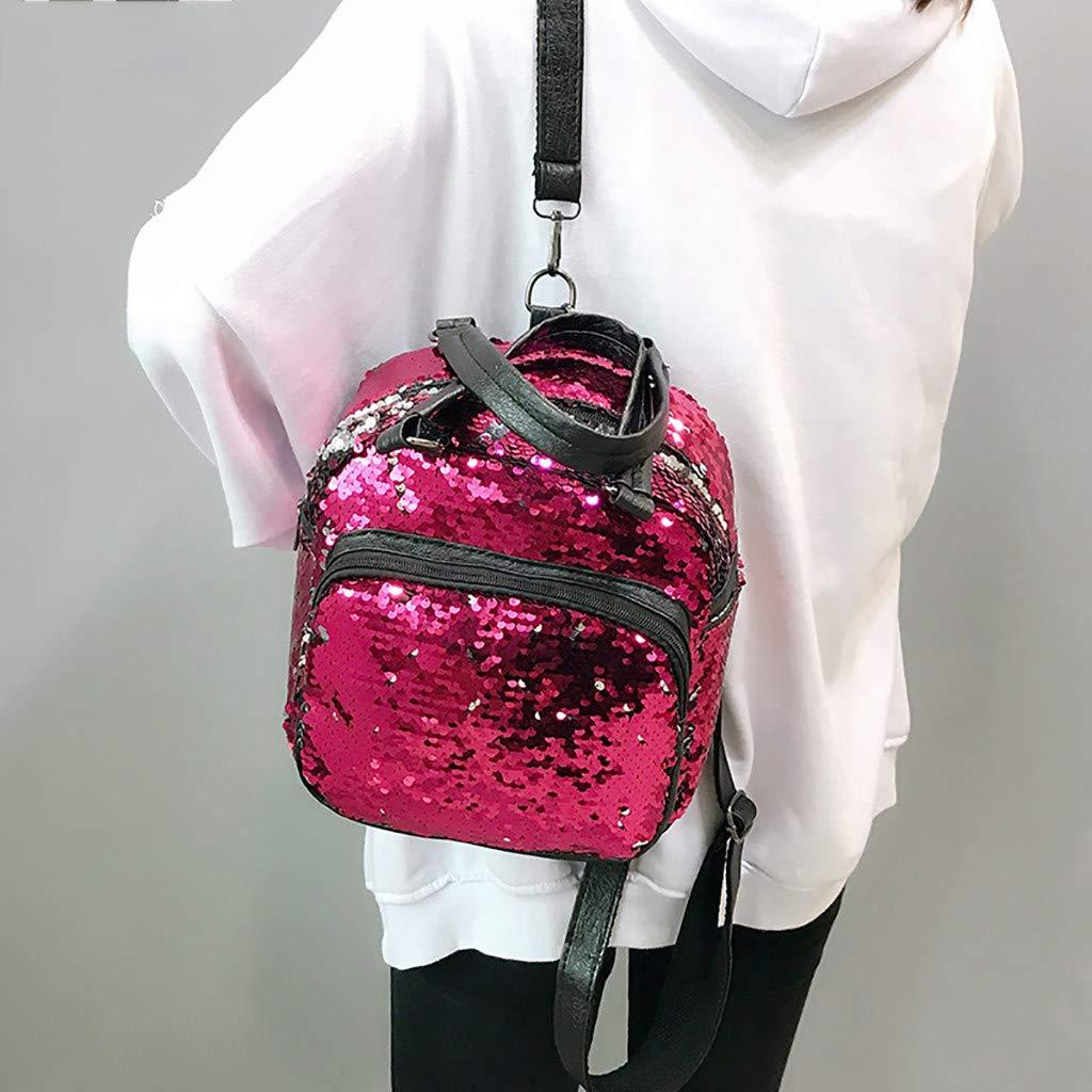 Women Fashion Wild Sequins Messenger Bag Student Bag Casual Backpack
