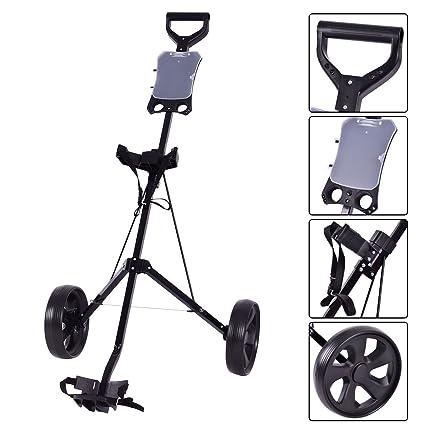 2b743d41fa18 New Folding 2 Wheel Push Pull Golf Club Cart Trolley Swivel w/Scoreboard  Lightweight