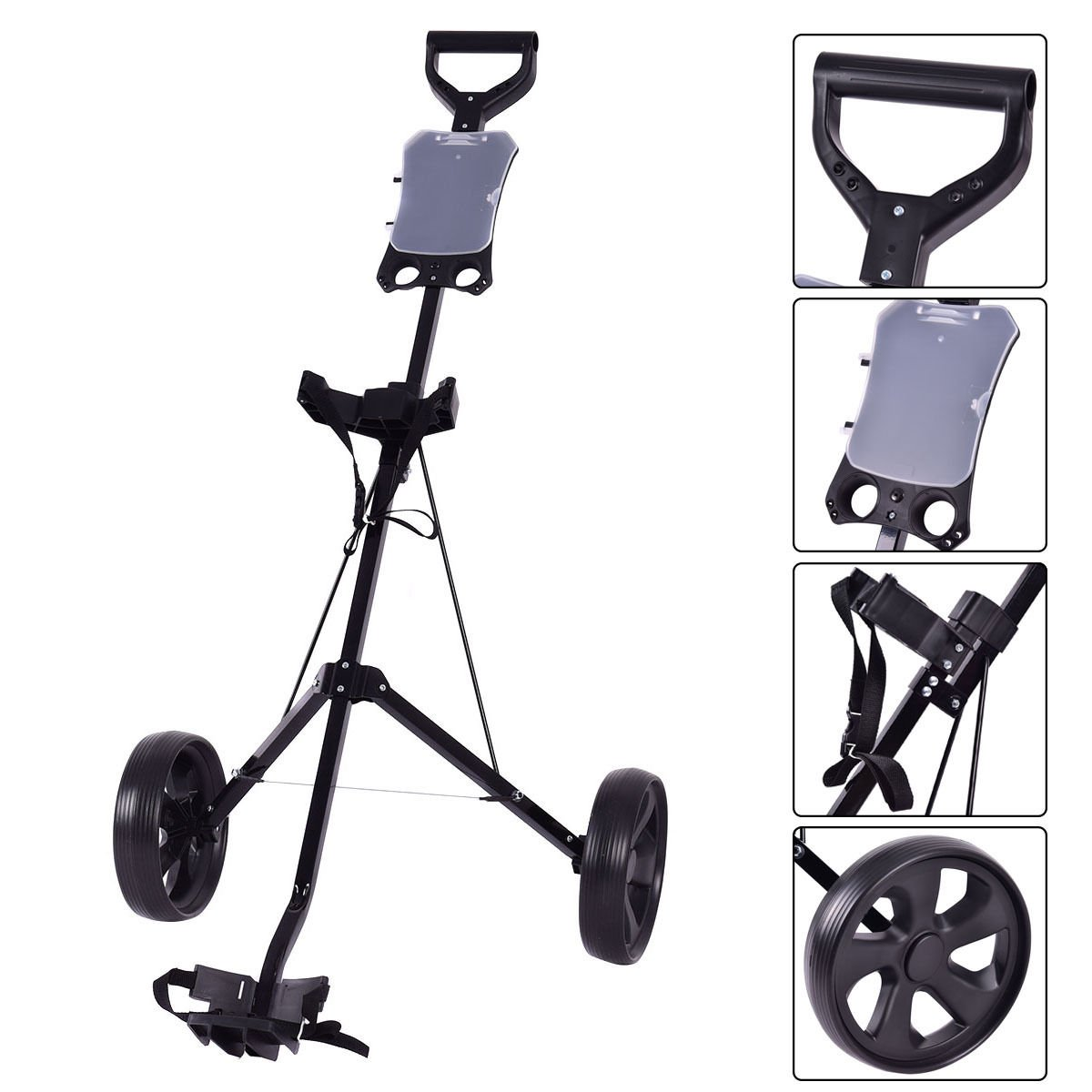 New Folding 2 Wheel Push Pull Golf Club Cart Trolley Swivel w/Scoreboard Lightweight by MTN Gearsmith