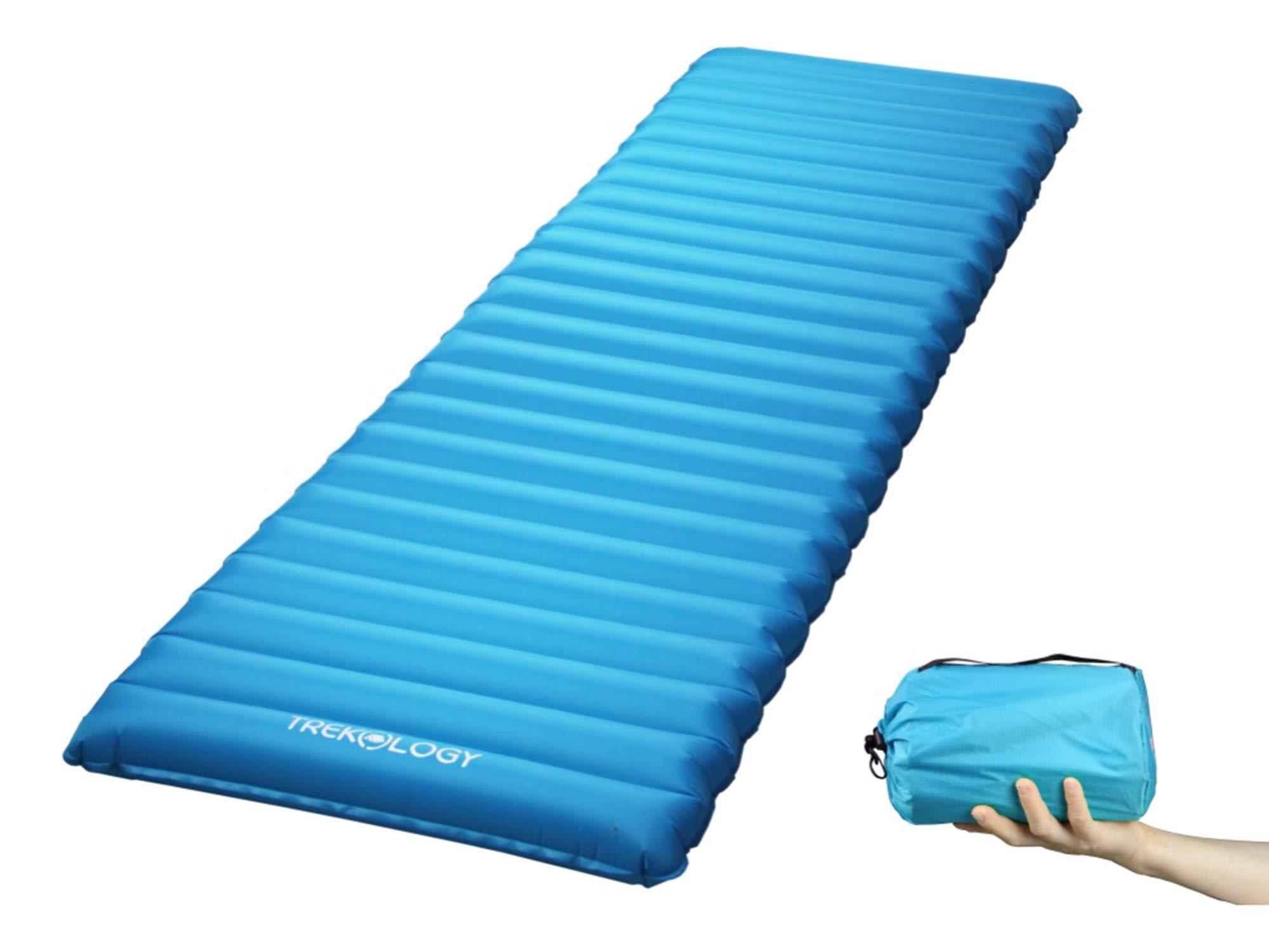 Ultralight Sleeping Pad, Inflating Camping Mattress w/Air Pump Dry Sack Bag - Compact Lightweight Camp Mat, Inflatable Backpacking Gear as Tent Pads, Hammock Mats for Travel, Hiking, Sleep (Teal Blue) by Trekology