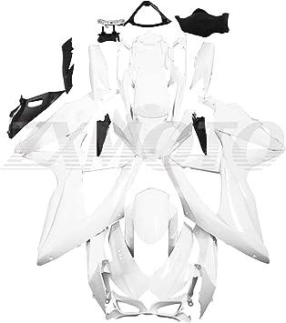 Black /& White Corona Injection Fairing for 2008-2010 Suzuki GSXR 600 750