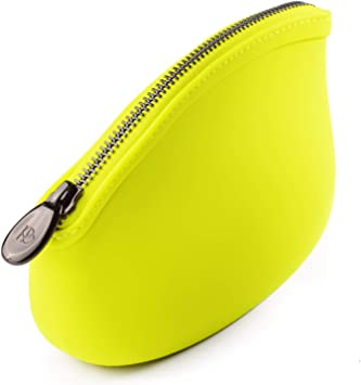 Pudinbag Small Makeup Cosmetic Pouch Bag for Women Purse | Lime | Silicone Waterproof Vegan