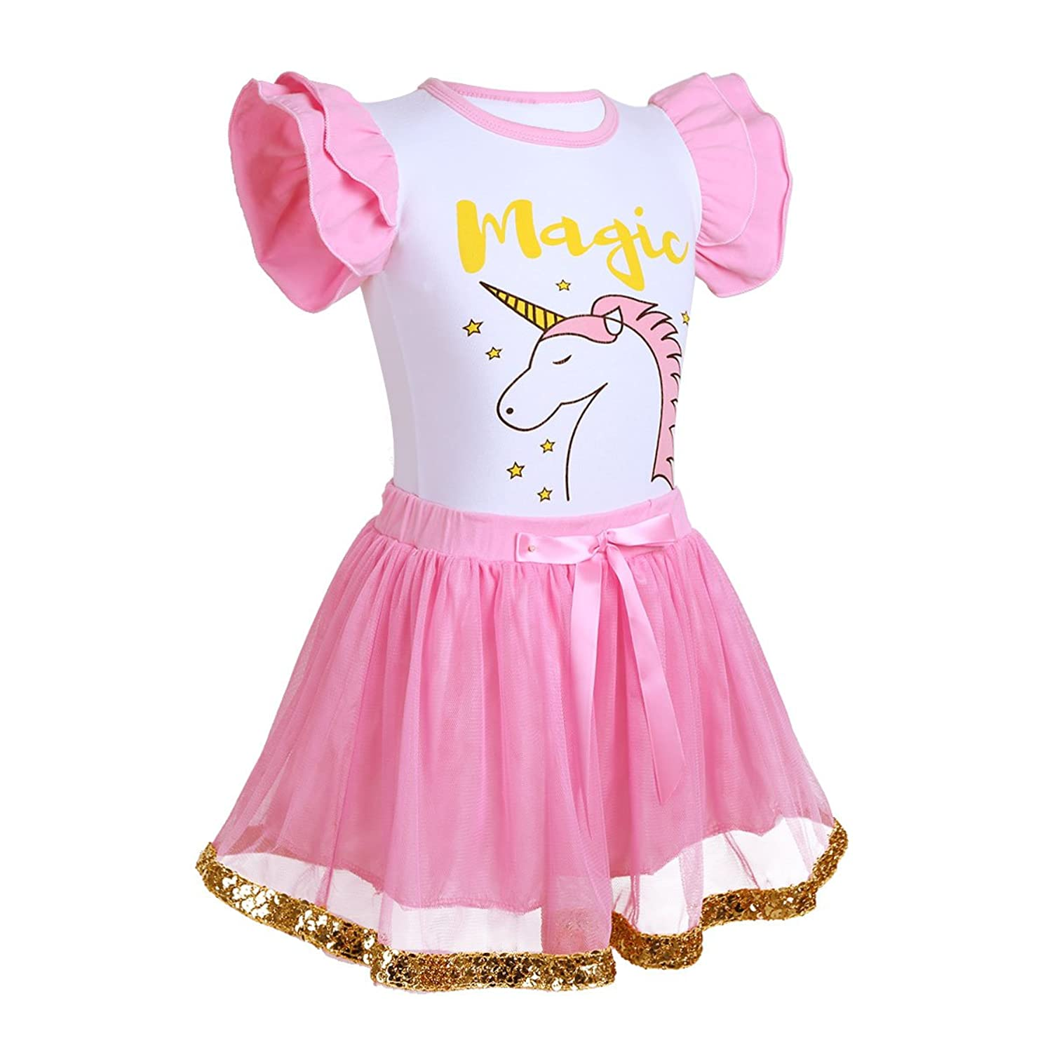 7ae9cd3ea8 iEFiEL Infant Kids Girls Ruffled Sleeves Unicorn Letter Printed Tops With  Tutu Skirt Set Holiday Party Cartoon Dress Outfits: Amazon.co.uk: Clothing
