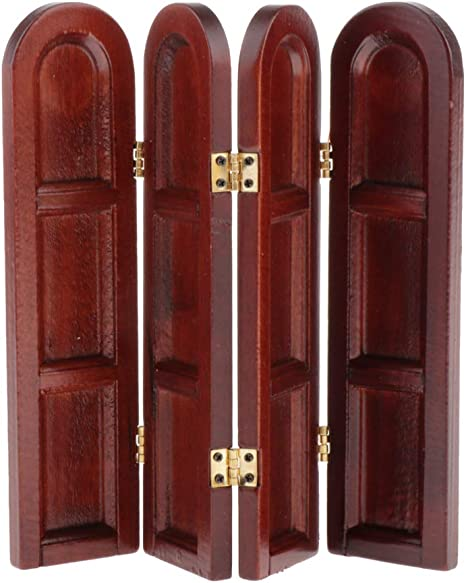 1:12 Scale 4 Panel Natural Finish Folding Screen Divider Tumdee Dolls House 029