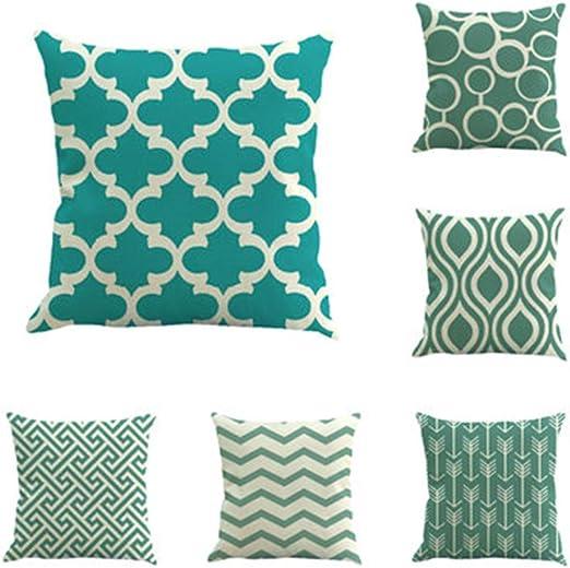 Hunterace 6 pcs/set Funda de cojín Azul y blanco Algodón Lino Raya Rombo Funda de almohada geométrica Sofá cama Decoración 18