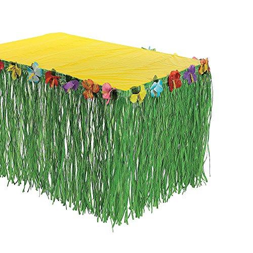 Fun Express Hawaiian Luau Hibiscus Green Table Skirt 9Ft Party - Toy Skirt