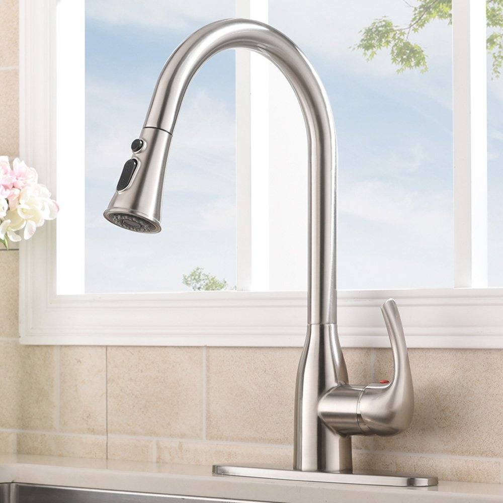 Commercial Single Handle Pull Down Sprayer Stainless Steel Kitchen Faucet, Brushed Nickel Kitchen Sink Faucets with Deck Plate