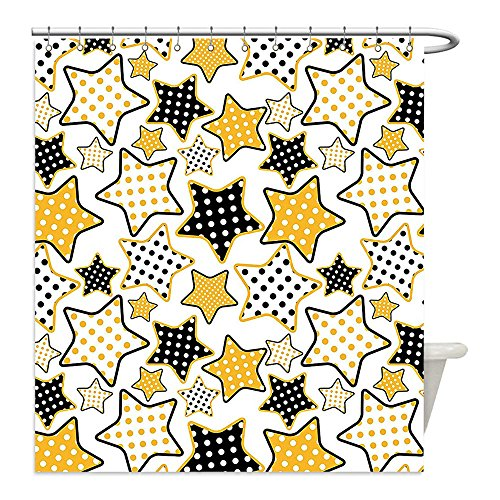 Rock N Roll Zombie Costume (Liguo88 Custom Waterproof Bathroom Shower Curtain Polyester House Decor Collection Polkadots in Big Small Stars Pattern s Style Party Decoration Rockn Roll Theme Print Yellow Black Decorative bathroo)