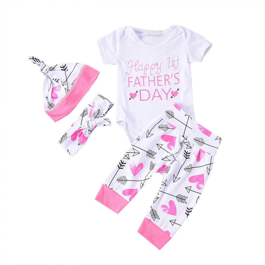 US 4PCS Newborn Infant Baby Girl Casual Top Romper Pants Hat Outfit Clothes Set