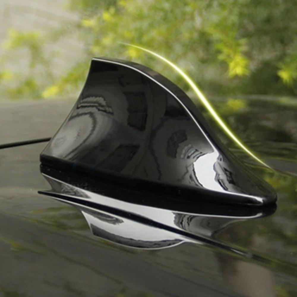 Sedeta/® blanc Antenne a/érienne de signal de radio AM FM de fin de requin de toit de voiture Avec adh/ésif Pour aile de to
