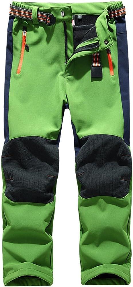 Asfixiado Kids Youth Boy's Girl's Insulated Ski Snow Pants Waterproof Windproof Winter Fleece Lined Softshell Trousers