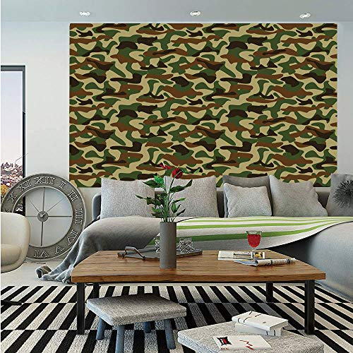 Camouflage Wall Mural,Military Squad Unit Uniform Design with Vivid Color Scheme Hunting Camo,Self-Adhesive Large Wallpaper for Home Decor 55x78 inches,Green Brown Khaki