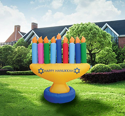 Zion Judaica Inflatable Lawn Menorah Indoor Outdoor Decoration with LED Night Glowing Lights - 7' Feet 2017 Version by Zion Judaica Ltd (Image #1)