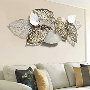 3D Metal Wall Mounted Sculpture, Leaves Metal Wall Art Decor for Home Hotel Bedroom Kitchen Nature Art Decorative, 143cm60cm