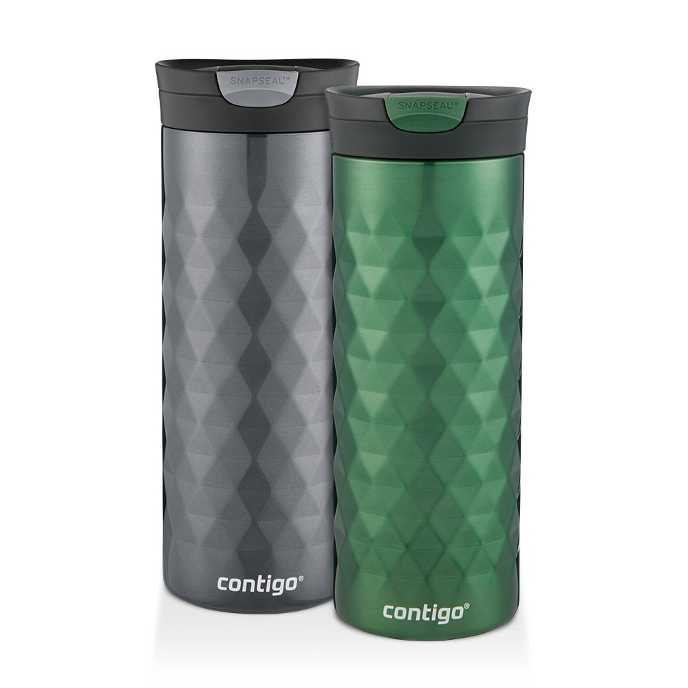 Contigo SnapSeal Kenton Travel Mugs, 20 oz, Gunmetal & Hunter Green, 2-Pack