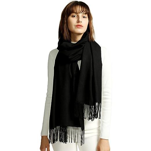 MaaMgic Womens Large Soft Cashmere Feel Pashmina Shawls Wraps Winter Light  Scarf ( Black , One