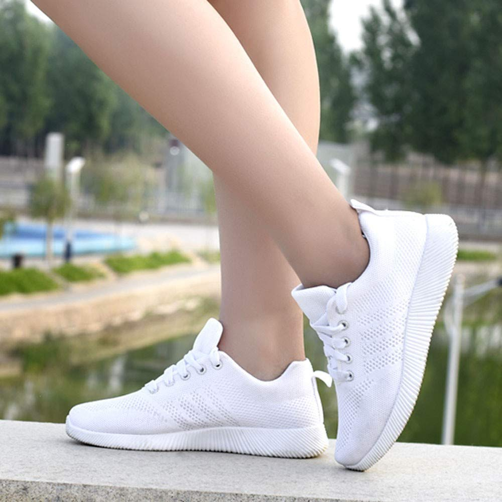 Womens Breathable Sneakers,CSSD Ladies Fashion Solid Color Sport Shoes Lace Up Trail Running Outdoor Flat Shoes