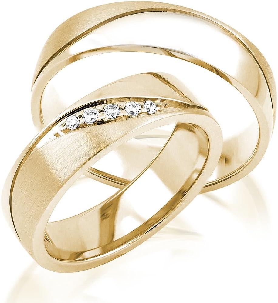 Ein Paar Trauringe Eheringe Gelbgold Weißgold Verlobungsringe Etui Steine PL235