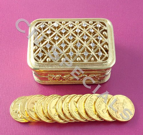 Rectangular Rhinestone Gold Wedding Arras Box & Unity Coins Arras de (Arras Box)